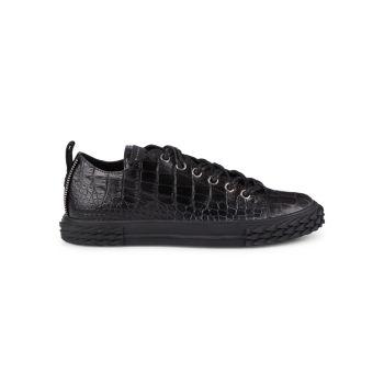 Snakeskin-Embossed Leather Cap-Toe Sneakers Giuseppe Zanotti