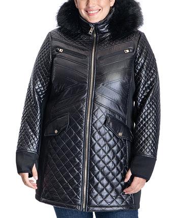 Plus Size Faux-Fur-Trim Hooded Coat Michael Kors