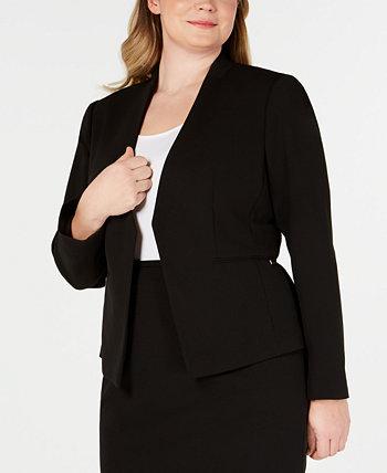 Пиджак большого размера из мягкого крепа с открытой передней частью Calvin Klein
