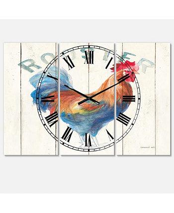 Металлические настенные часы из 3 панелей Farmhouse Designart