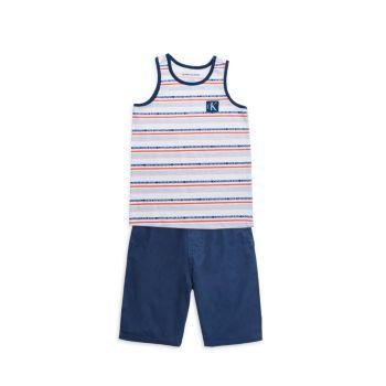 Little Boy's 2-Piece Striped Tank Top & Shorts Set Calvin Klein