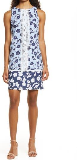 Мини-платье прямого кроя из смесового льна с кружевной отделкой и цветочным рисунком Eliza J