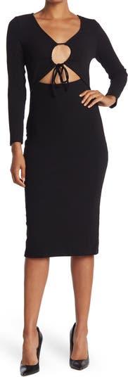 Cutout Ribbed Knit Bodycon Dress NSR