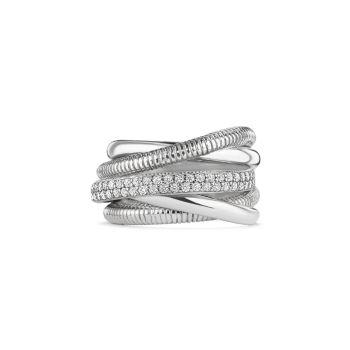 Eternity из белого золота 18 карат, стерлингового серебра и серебра Алмазное 5-полосное дорожное кольцо Judith Ripka