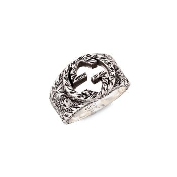Sterling Silver Interlocking G Ring With Paisley Details GUCCI