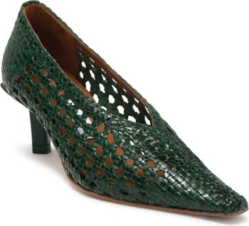 Зеленые плетеные туфли на высоком каблуке Clelia Forest Miista