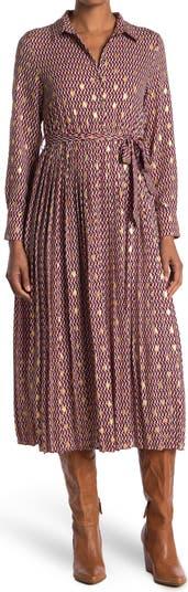 Платье-рубашка миди с длинным рукавом и завязками на талии MELLODAY