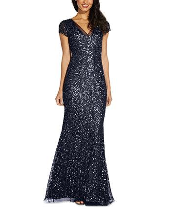 Платье с вышивкой бисером и пайетками Adrianna Papell