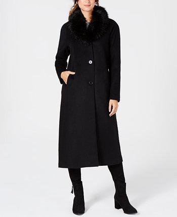 Макси-пальто с воротником из искусственного меха Jones New York
