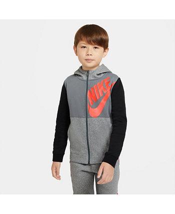 Толстовка с капюшоном на молнии во всю длину для больших мальчиков Nike