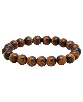 Мужской коричневый браслет из бисера Genunie с тигровым глазом и камнем STEELTIME