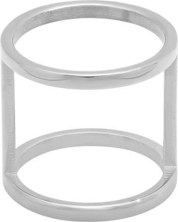 Двойное кольцо из нержавеющей стали HMY Jewelry