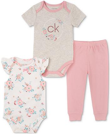 Комплект боди и штанов для бега с принтом из 3 предметов для маленьких девочек Calvin Klein