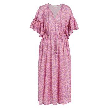Платье миди трапециевидной формы с леопардовым принтом и рюшами ZIMMERMANN