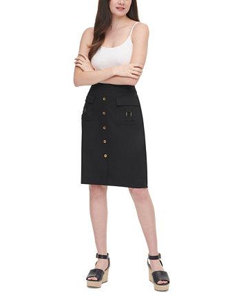 Button-Detail Pencil Skirt Calvin Klein