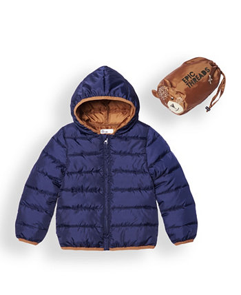 Little Boys Water Resistant Packable Pals Jacket Comes with Storage Bag Epic Threads