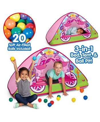 Зачарованная карета принцессы 3-в-1 Кровать, палатка, площадка для игры в мяч Little Tikes