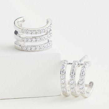 Elizabeth and James Sterling Silver 1/3 Carat T.W. Lab-Created Diamond Triple Row Hoop Earrings Elizabeth and James