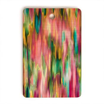Цветочная розовая прямоугольная разделочная доска с радужными линиями Deny Designs