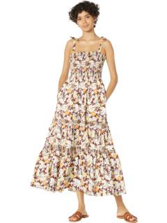 Платье с принтом на завязках на плечах Tory Burch Swimwear