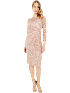 Платье с короткими рукавами и боковыми складками MARINA