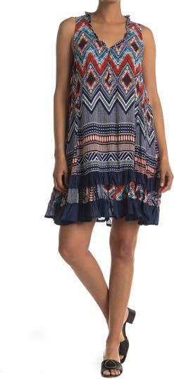 Платье трапециевидной формы с оборками и геометрическим принтом на хенли Papillon