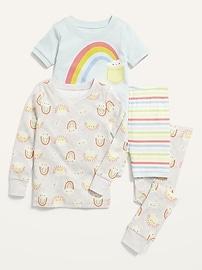 Пижамный комплект из 4 предметов с рисунком для малышей и младенцев Old Navy