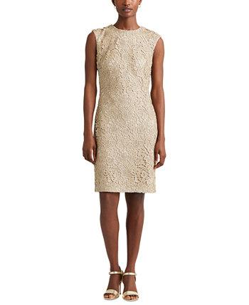 Кружевное коктейльное платье без рукавов Ralph Lauren