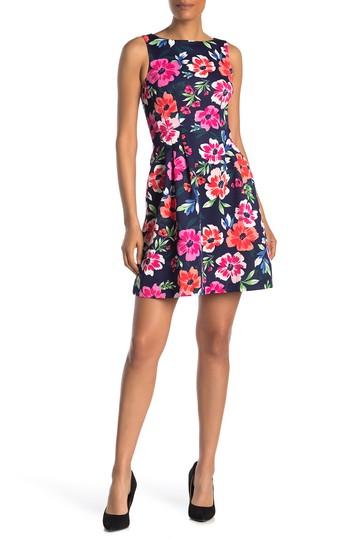 Платье с цветочным принтом без рукавов Scuba Fit & Flare Vince Camuto