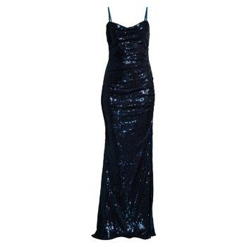 Платье со сборками и пайетками Faviana