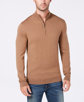 Мужской свитер из смесовой шерсти мериноса с застежкой-четвертью, созданный для Macy's Club Room
