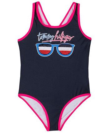 Слитный купальник Flip Sequin для больших девочек Tommy Hilfiger