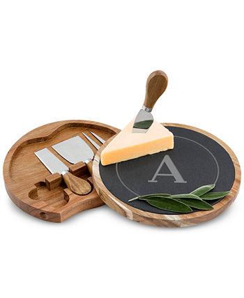 Персонализированный набор досок для сыра из сланца и дерева акации Cathy's Concepts