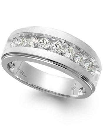 Мужское кольцо с девяти камнями и бриллиантом из белого золота 10 карат (1/4 карата) Macy's