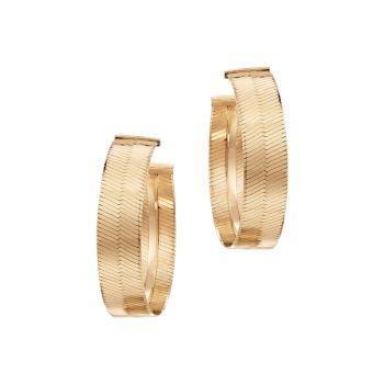 Серьги-кольца из желтого золота 14 карат с жидким золотом Lana Jewelry