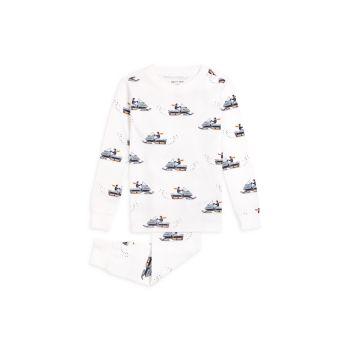 Little Boy's & Boy's 2-Piece Snowmobile-Print Pajama Set Firsts by Petit Lem