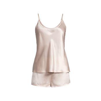 Двухкомпонентный шелковый камзол & amp; Пижамный комплект с шортами La Perla
