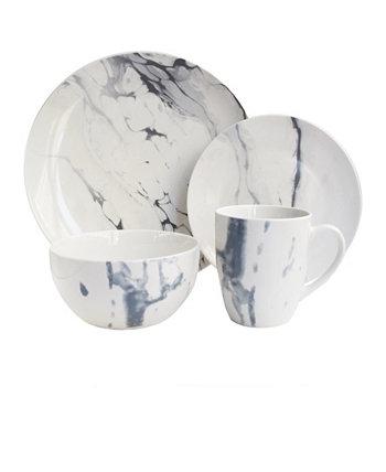 Мраморный белый / синий набор столовой посуды из 16 предметов JAY IMPORTS