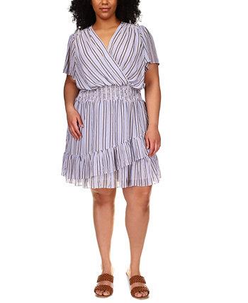 Платье больших размеров в полоску с кружевным вырезом Michael Kors