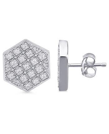 Мужские серьги-гвоздики с шестигранной головкой и бриллиантами (1/2 карата) из стерлингового серебра Macy's