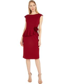 Stretch Crepe Peplum Dress MARINA