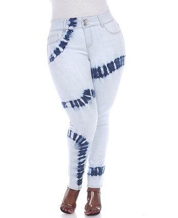 Голубые джинсовые джинсы большого размера женские с принтом тай-дай White Mark