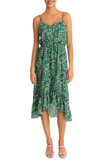 Платье миди Hi-Lo с V-образным вырезом и ремешками Donna Morgan