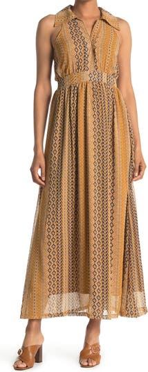 Макси-платье с расстегнутым воротником и принтом Papillon