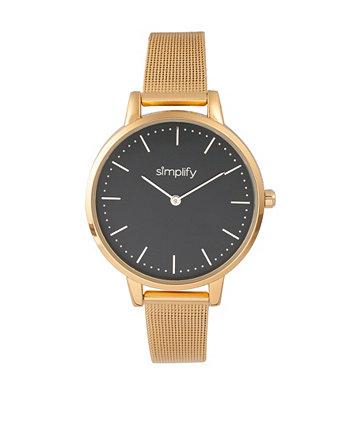 Кварцевый циферблат 5800, черный циферблат, часы из золотого сплава 38 мм Simplify