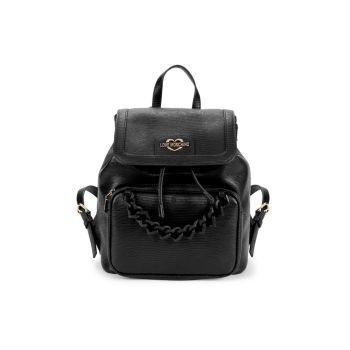 Рюкзак с тисненой цепочкой и клапаном LOVE Moschino