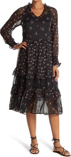 Long Sleeve Floral Midi Dress Angie