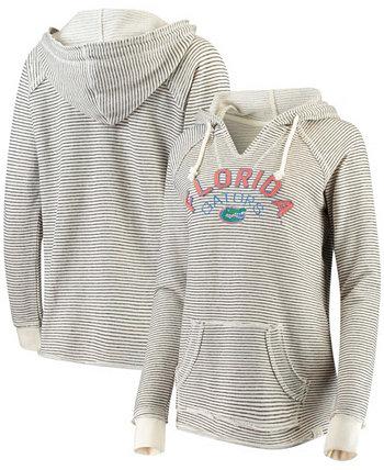 Женский кремовый пуловер с капюшоном Florida Gators в полоску из французского терри с v-образным вырезом Blue 84