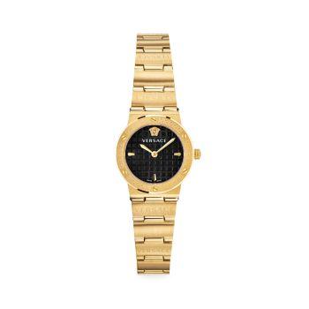 Миниатюрные часы с браслетом из желтого золота с логотипом Greca и IP Versace