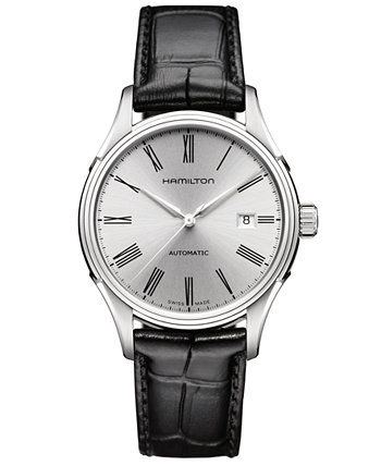 Мужские швейцарские автоматические часы Valiant с черным кожаным ремешком 40 мм H39515754 Hamilton